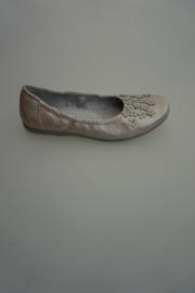 Clic leren ballerina met bloemetjes, leer gevoerd, Plata mastroto, metallic 37
