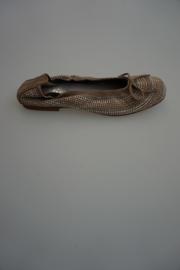 Clic  nubuck leren ballerina met strikje en studs allover,leer gevoerd, ante ceniza, taupe, 36