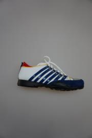Compagnucci, leren jongensschoen met vetersluiting, zwarte stootrand, leer gevoerd, wit met blauwe strepen, 38