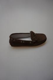 Docksteps, leren instapper, klassiek model bootschoen, moccassin type met nopjeszool, leer gevoerd, bruin  33