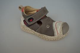 Lepi t band open schoen met stootneus, leer en leer gevoerd, Taupe/rood, 20