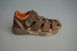 Track Style, leren open schoen/ sandaal, leer gevoerd, klittenband sluiting, dichte neus en hiel, bruin  28