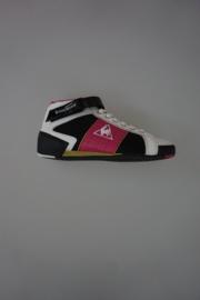 Le Coq Sportif sneaker met veter en klittenbandsluiting, mid, leer met PU, wit zwart/ fuchsia 38 39