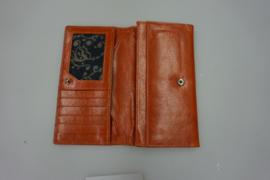 Czanne, leren damesportemonnee, dark cognac/orange