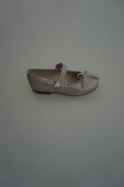 Clic,leren bandschoen met strikje, leer gevoerd, metallic grijs  33