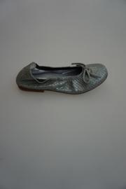 Clic leren ballerina met strikje, leer gevoerd, structuur snake, Quatar gris, donker zilver grijs 31  37