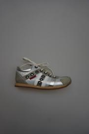 Shoesme, leren veterschoen, zonder rits, leer gevoerd, zilver/wit grijs 32