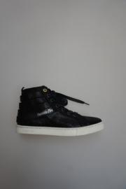 Pantofola d' oro, leren sneaker, veterschoen met rits, losse binnenzool, niet leer gevoerd, zwart