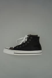 Converse dubbel upper veter zwart/wit leer en canvas 37,5
