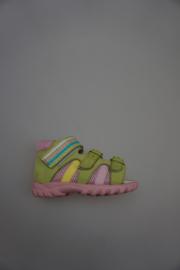 Daumling, sportief nubuck, rose zool,met 2 gespjes verstelbaar, klittenbandsluiting, leren voetbed, dichte hiel, groen, multi color, 21 22 24  26