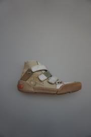 Froxy, mid hoge schoen met klittenband, stootneus, combi canvas/leer, leer gevoerd, wit/beige 32