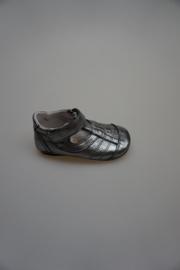 Jochie, metallic leren t-band kruip-loopschoentje, leer gevoerd, flexibel, donker zilver 22