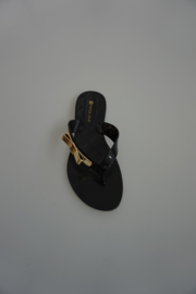 Petite Jolie, teenslipper zwart met gouden strikje,  37 38