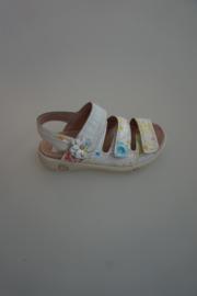 twins leren sandaal, verstelbare klittenband, leer gevoerd, wit craqulee leer met bloemenrpint, 32 34