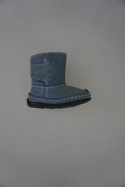Bardossa laarsje met klittenband, moccasin model,  zachte bontvoering, flexibele zool, blauw/jeans nubuck  21