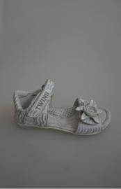 twins leren sandaal, leer gevoerd, met bloem, klittenbandsluiting verstelbaar, wit zilver