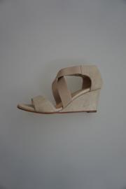 Unisa, leren sandalet op sleehak, met elastische banden, nubuck leer, 6cm hak, platino metal 37
