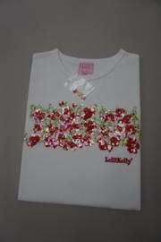 Lelli Kelly, t-shirt met bloemenrand pailetten strass geborduurd, 100% katoen wit, maten  L