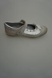Clic leren bandschoen, leer gevoerd, zilver met taupe 34