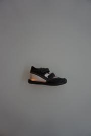 Bardossa  leren klittenband schoentjes  met stootneus , flex zooltjes,  leer gevoerd, zwart/zilver  22