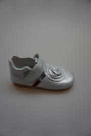 Shoesme, BabyFlex, leren t band schoentje, flexibele zool, bloem/rozet zilver