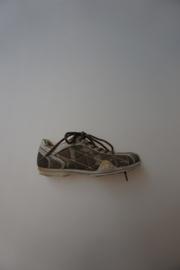 Gattino, lage veterschoen zonder rits, leer combi canvas, leer gevoerd, smal model groen camoufalge print, 31, 32, 33 ,34,  36