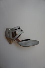 Carmens, leren damesschoen, leer gevoerd, ritsje zijkant, grijs  38