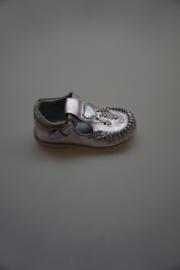 Gattino, flexibel t -bandschoentje, moccassin model, leer metallic, leer gevoerd, viola strass