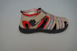 Track Style, half open leren jongenssandaal/ -schoen met dichte neus en hiel. Taupe met accentkleur, zwarte zool, 25, 26