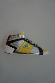 Le Coq Sportif, leren sneaker. mid, met veter en klittenband, niet leer gevoerd, zilver/geel, zwart 39