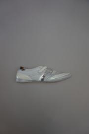 Renata, leren klittenbandschoen, leer gevoerd, lak, stootneusje, wit lila  zilver 37