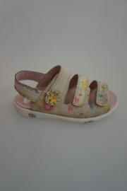 Twins leren sandaal, verstelbare klittenband, leer gevoerd, ecru flower  29 31 32  34