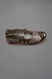 Braqeez, leren bandschoen, leer gevoerd, camouflage kaki, zilver rose  37