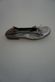 Clic, metallic leren ballerina met strikje, leer gevoerd, eclat Roca, donker zilver, 28