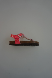 Kipling leren sandaal, lakleer teen sandaal, verstelbaar met gesp, roze, coral, print