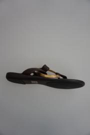 Unisa leren teen- slipper met gouden ring op wreef, donker bruin soepelglad leer, 36