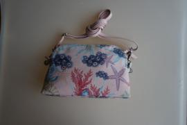 By Lou Lou, Leren schoudertasje met bloemenprint, coral/rose