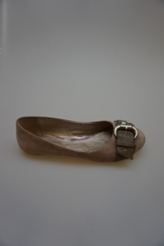 SPM nubuck leer, ballerina met  siergesp, blush/taupe/grey  37