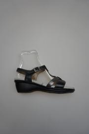 Fluchos, leren sandaal met uitneembaar voetbed, lage sleehak, leren binnenkant, zwart grijs