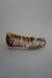 Piedro, extra smalle ballerina ( wijdte 2½) met lange veter, leer, leer gevoerd, multi colour 32 33  37