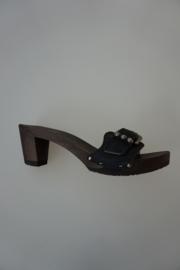 Softclox, houten slipper met band in nubuck leer met vertselbare gesp, studs, ocean