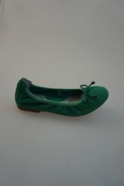 Acebo's, leren ballerina met strikje, nubuck leer, leer gevoerd, groen 30 33 34 37