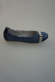 Acebo's leren ballerina, leer gevoerd, lakneusje, blauw 32