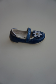 Bana & Co, lak leren bandschoen met bloem, stootrand, leer gevoerd, kobalt blauw 24