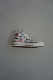 All Star, CT bathroom, hi, hoog canvas wit met multi print, 29 31