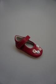 Shoesme, babyproof kruip-loopschoentje met bandje, geheel leer, fuchsia met bloemetjes