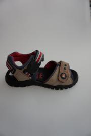 Craft, leren sandaal, nubuck, sluiting met klikinsteekgesp, klittenbandverstelbaar, taupe