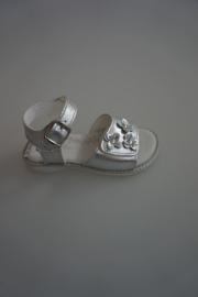 Little David leren sandaal, verstelbaar met klittenband, gespsluiting, zilver  24