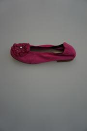 Clic, leren ballerina, met bloem, leer gevoerd, nubuck leer, ante bogor, pink 34  37