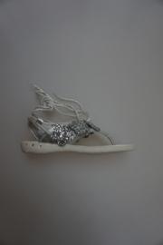 Ciao Bimbi, teen sandaal met zilveren veter achter, zilver glitter maat 34